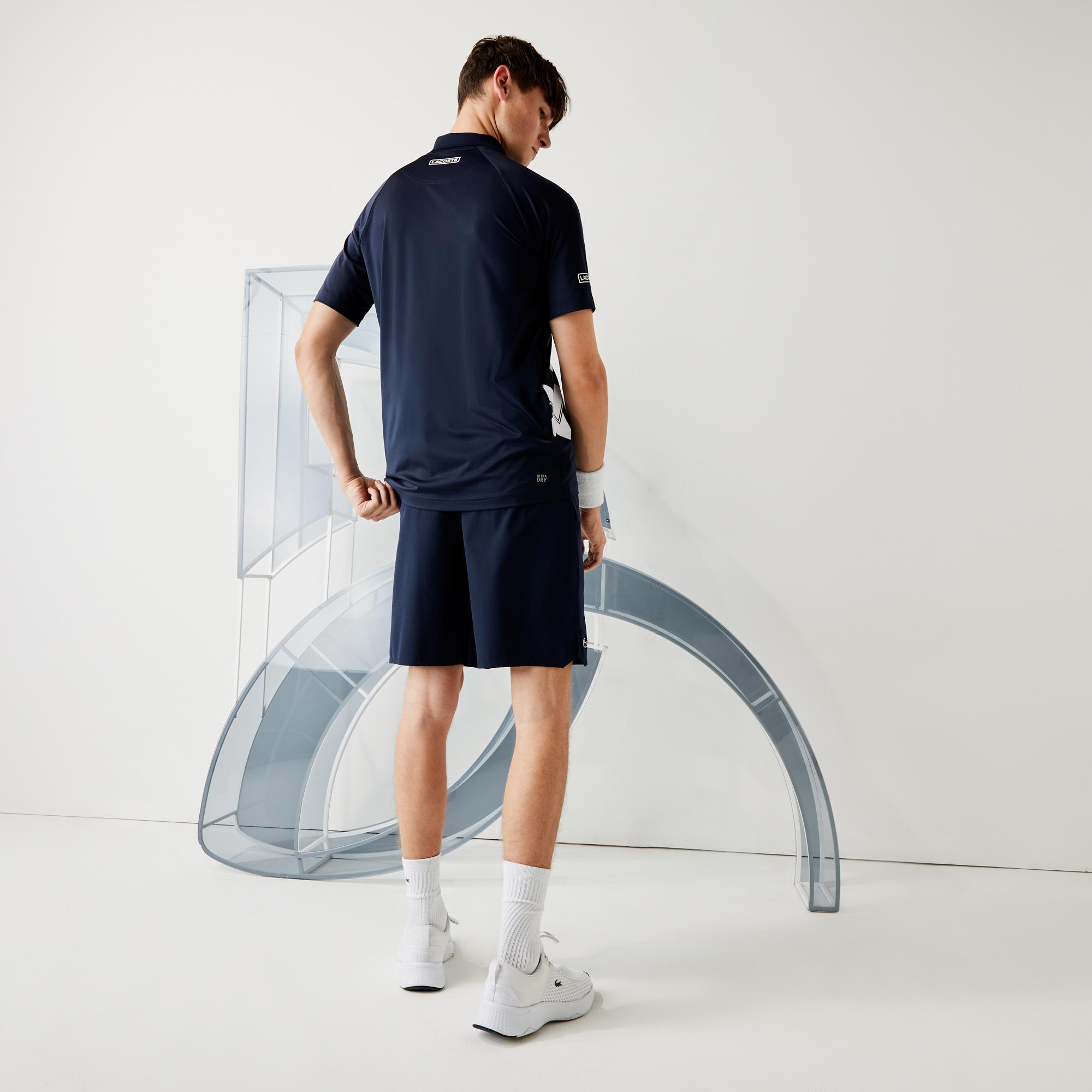 Lacoste Sport Erkek Baskılı Lacivert - Beyaz Polo