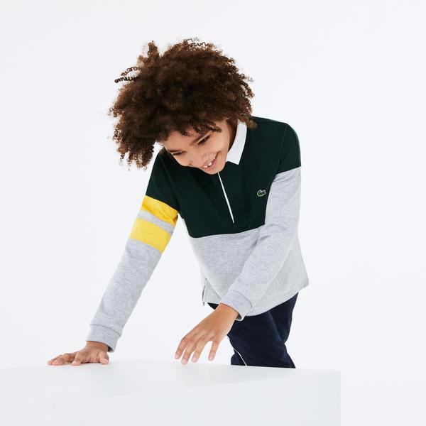 Lacoste Çocuk Blok Desenli Uzun Kollu Gri - Yeşil Polo