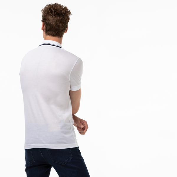 Lacoste Erkek Slim Fit Fermuarlı Yaka Beyaz Polo