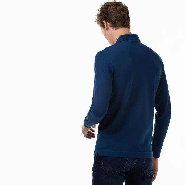 Lacoste Erkek Regular Fit Uzun Kollu Mavi Paris Polo