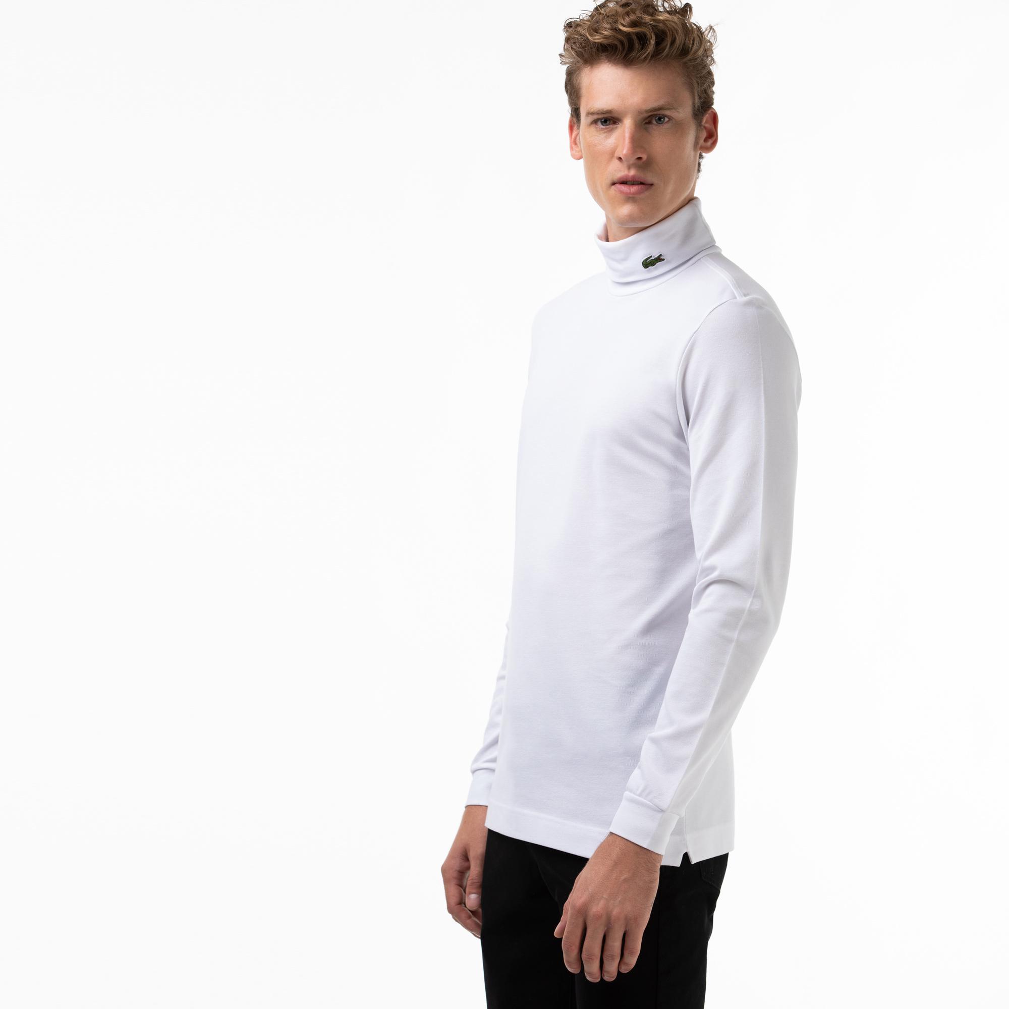 Lacoste Erkek Boğazlı Yaka Uzun Kollu Beyaz T-Shirt