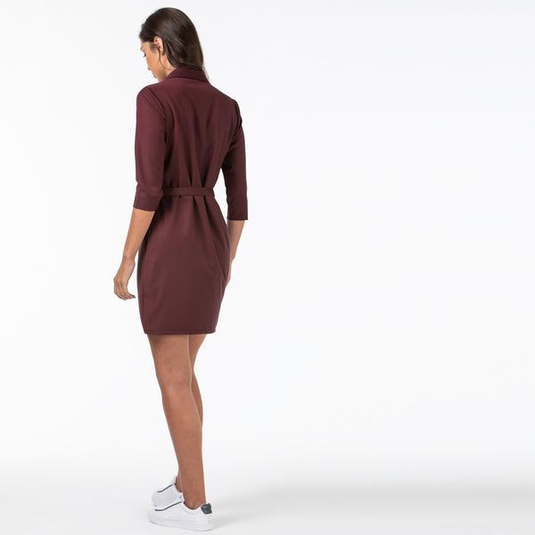 Lacoste Kadın Gömlek Yaka Bordo Elbise