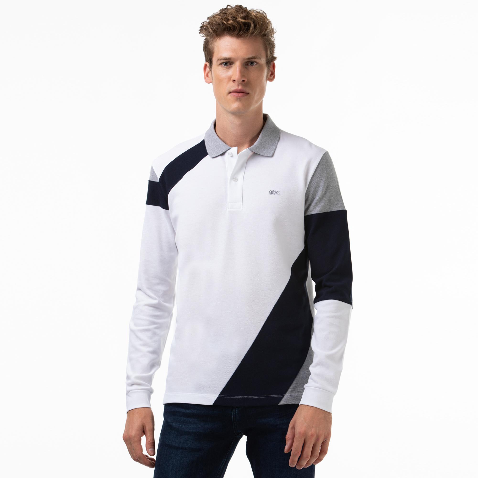 Lacoste Erkek Regular Fit Blok Desenli Uzun Kollu Beyaz Polo