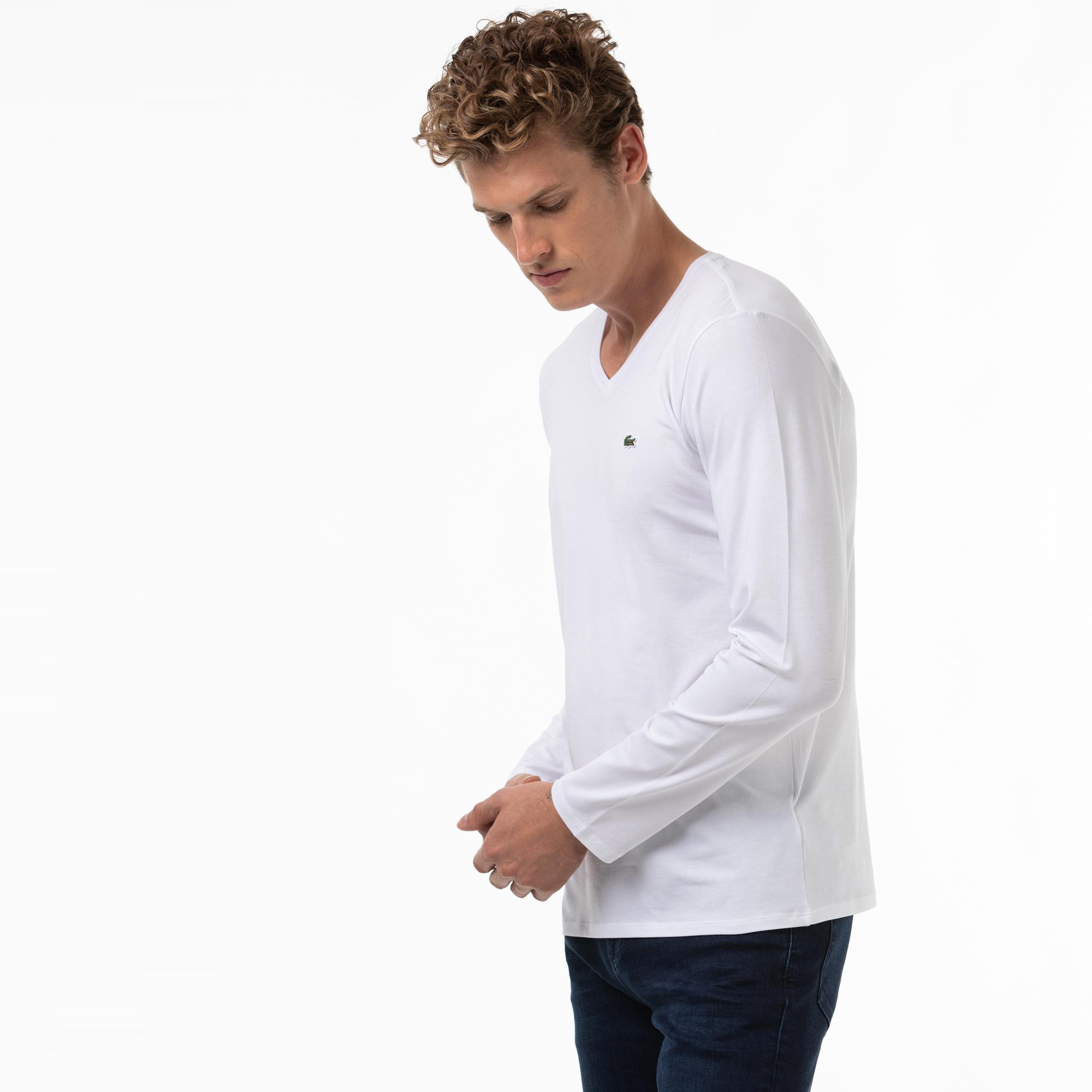 Lacoste Erkek V Yaka Uzun Kollu Beyaz T-Shirt