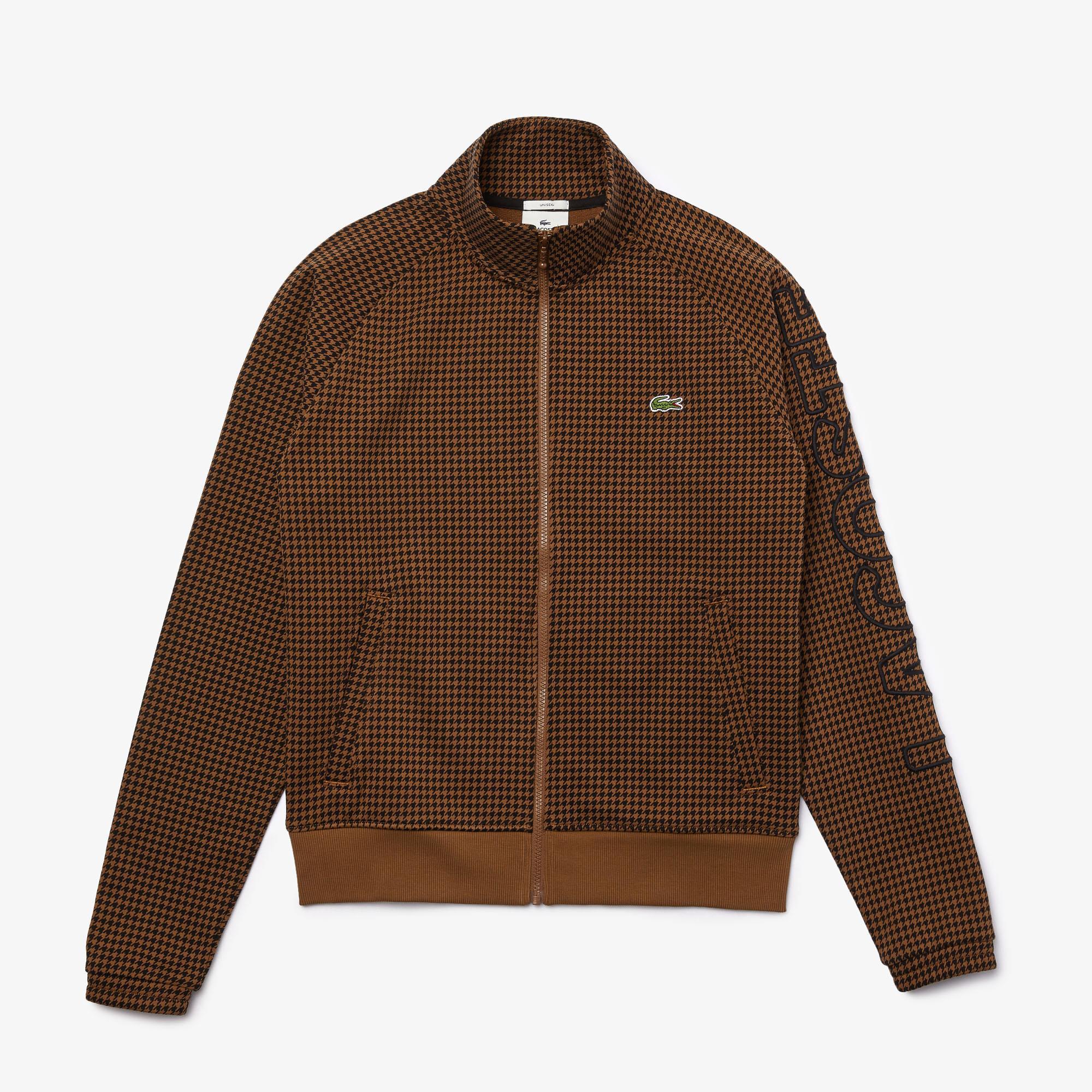 Lacoste L!VE Unisex Baskılı Fermuarlı Kahverengi Sweatshirt