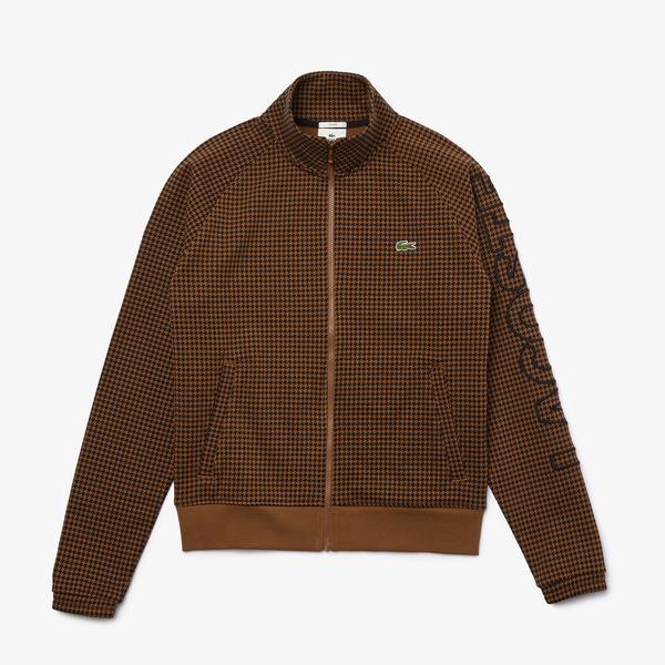 Lacoste L!VE Erkek Baskılı Fermuarlı Kahverengi Sweatshirt