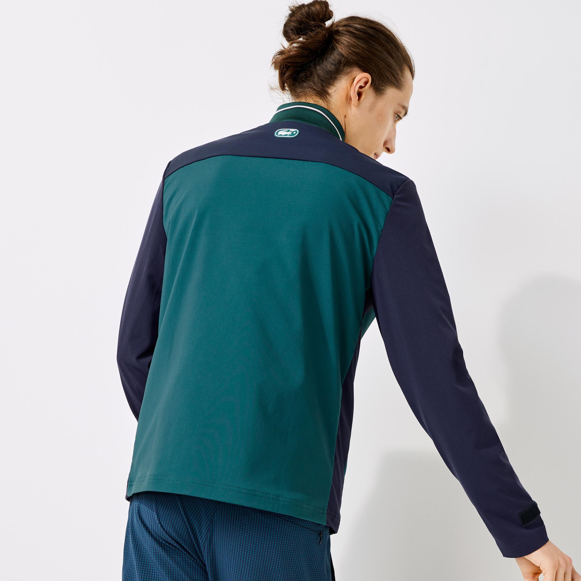 Lacoste Sport Erkek Blok Desenli Fermuarlı Yeşil Sweatshirt