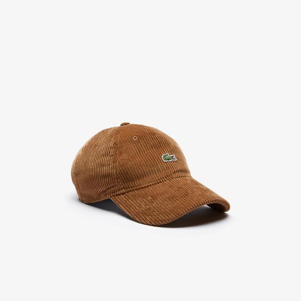 Lacoste L!VE Unisex Kadife Kahverengi Şapka