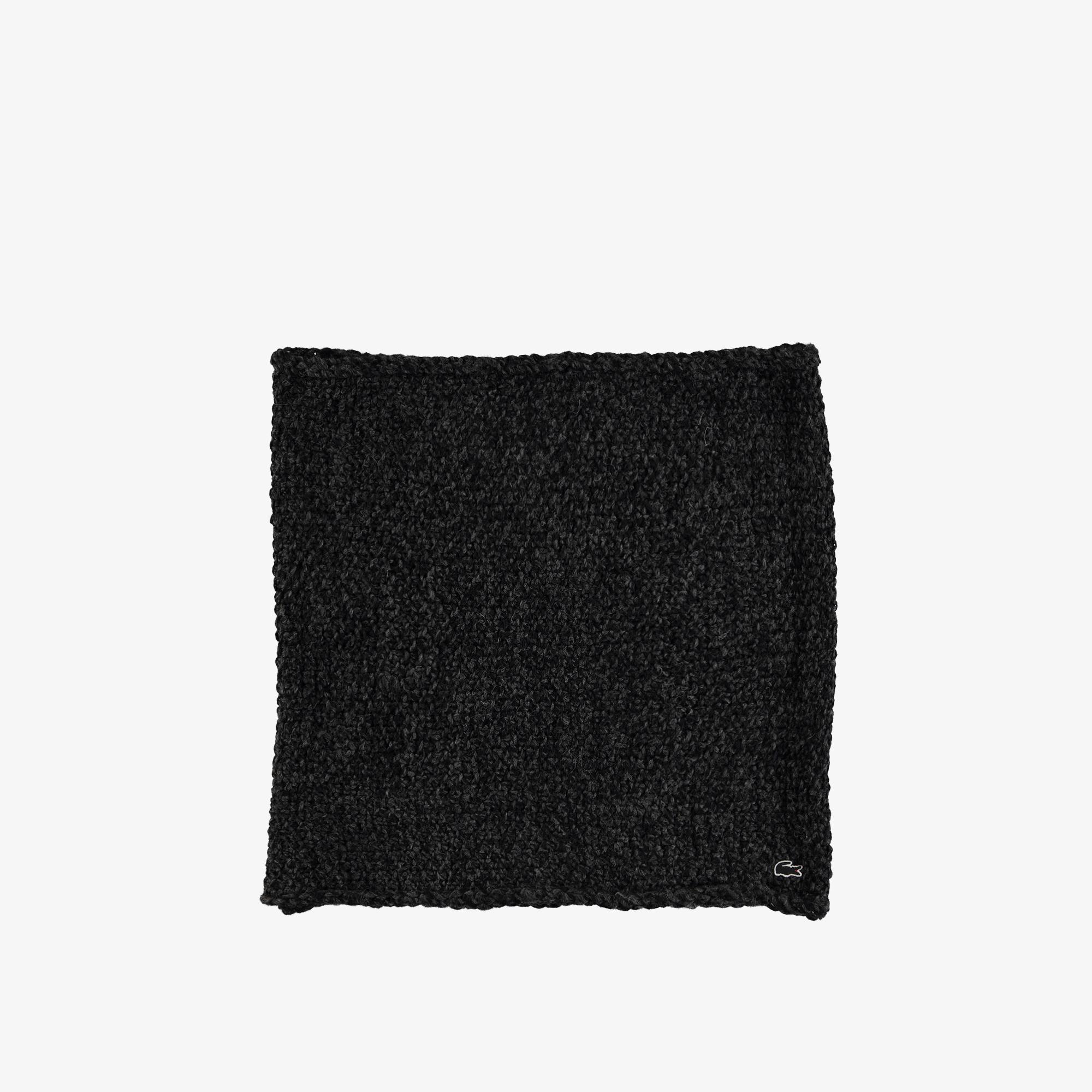 Lacoste Unisex Siyah Yün Karışımlı Boyunluk