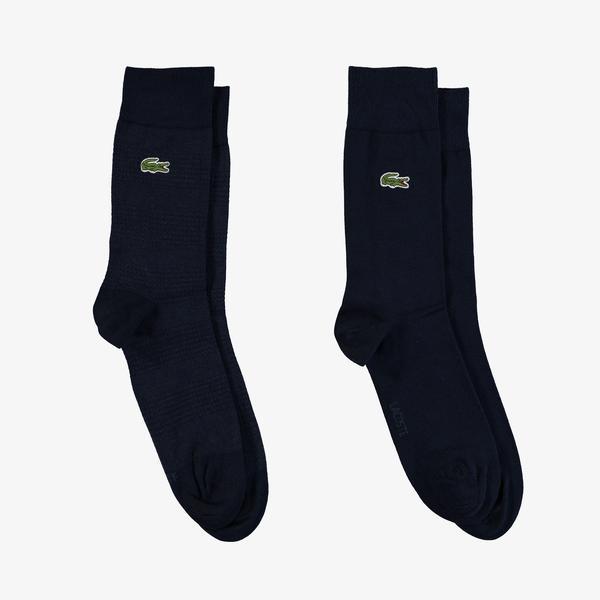 Lacoste Unisex Çizgili Uzun Lacivert Çorap
