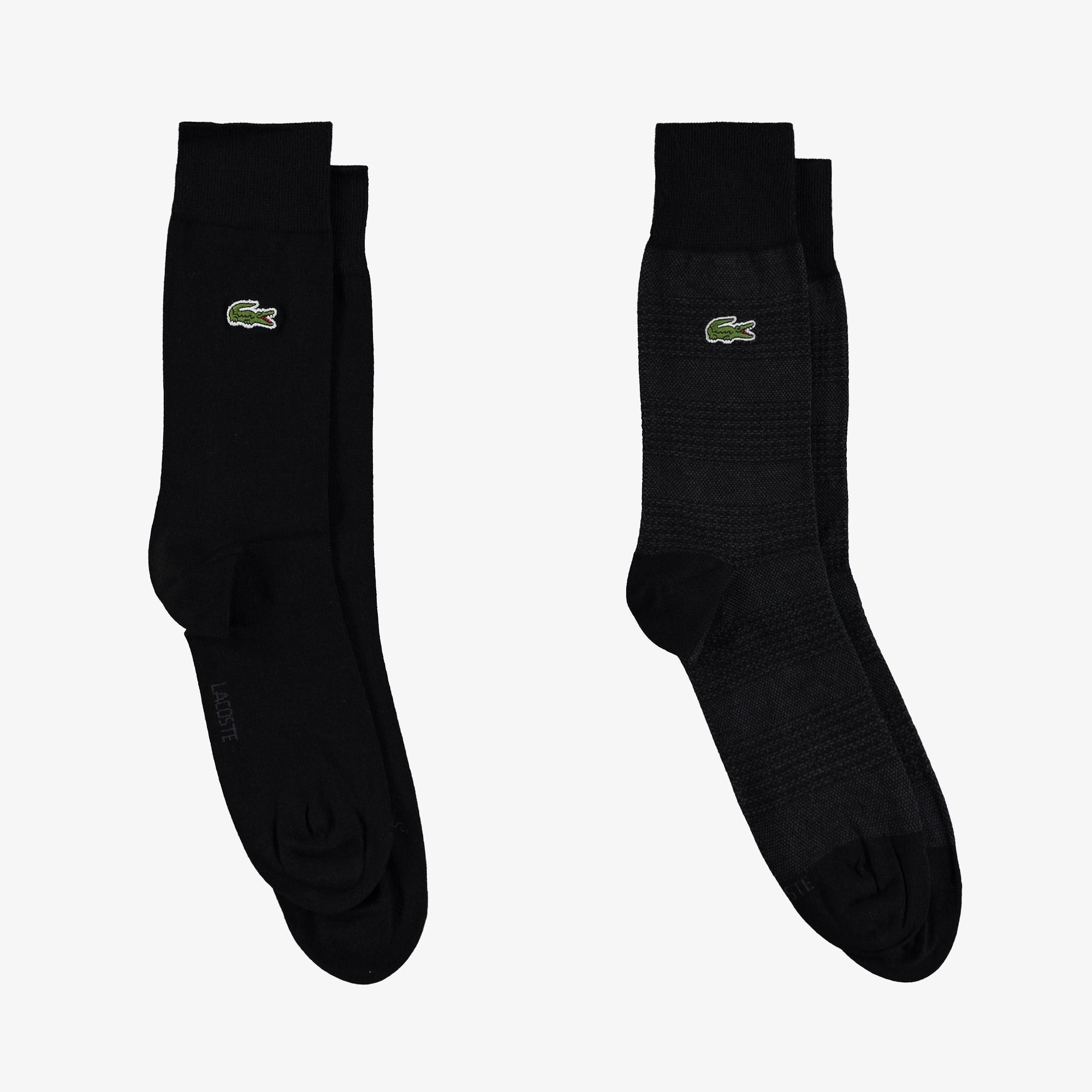 Lacoste Unisex Çizgili Uzun Siyah 2'li Çorap