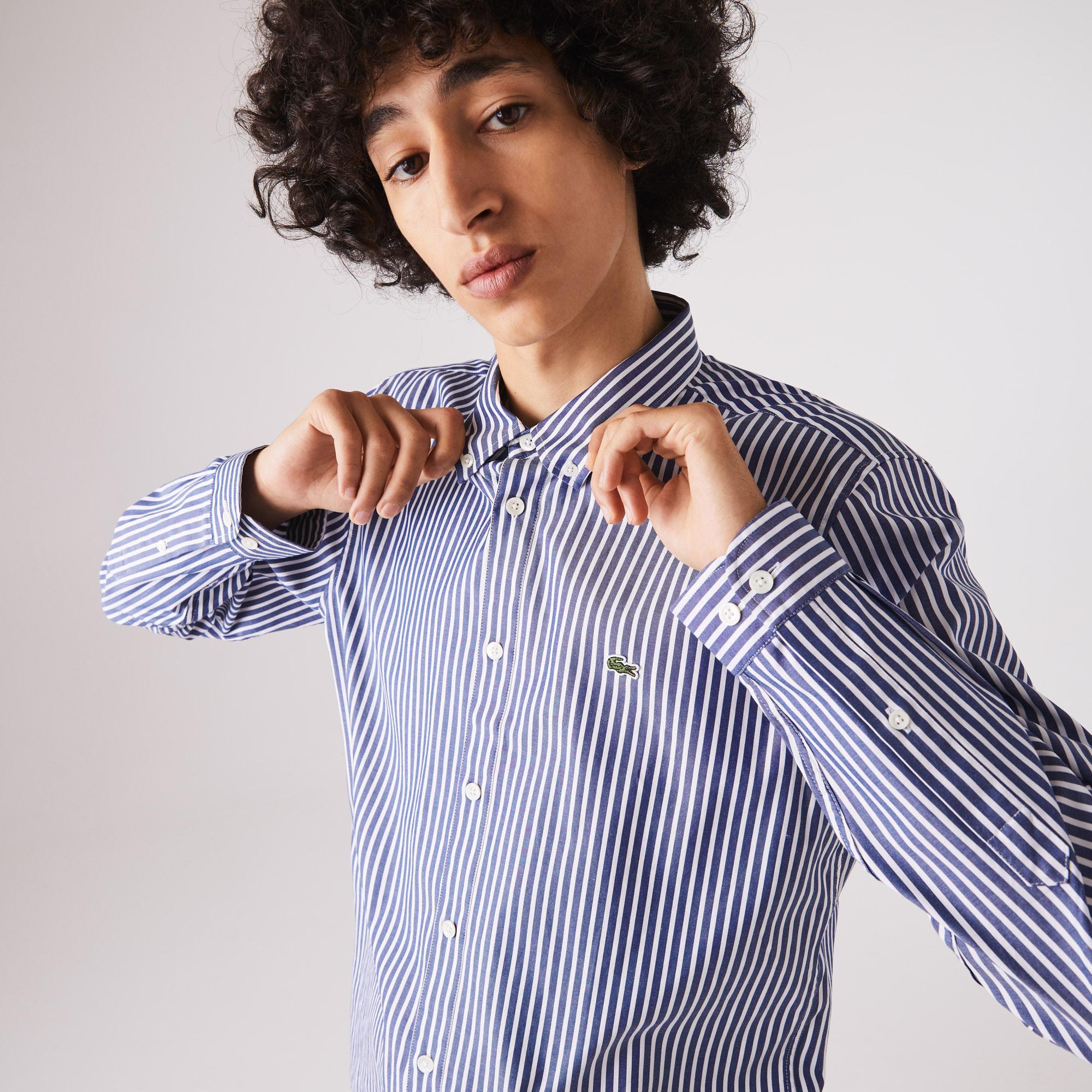 Lacoste Erkek Regular Fit Çizgili Lacivert Gömlek