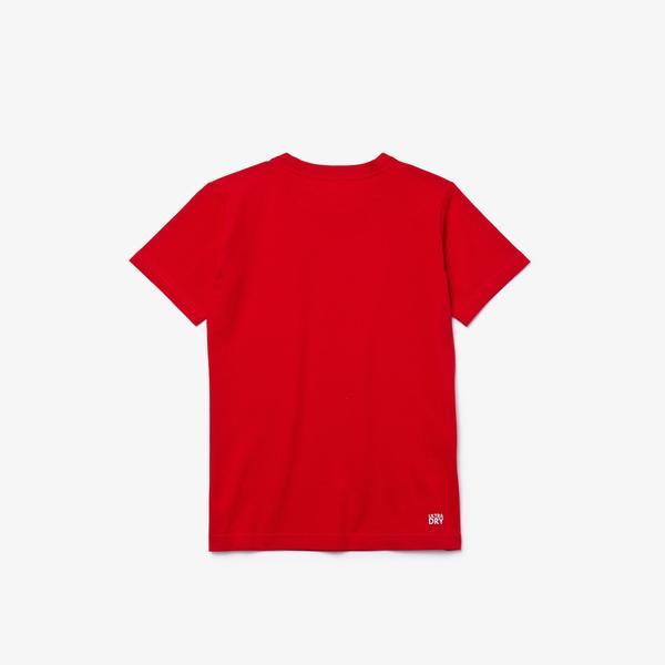 Lacoste Sport Çocuk Baskılı Bisiklet Yaka Kırmızı T-Shirt