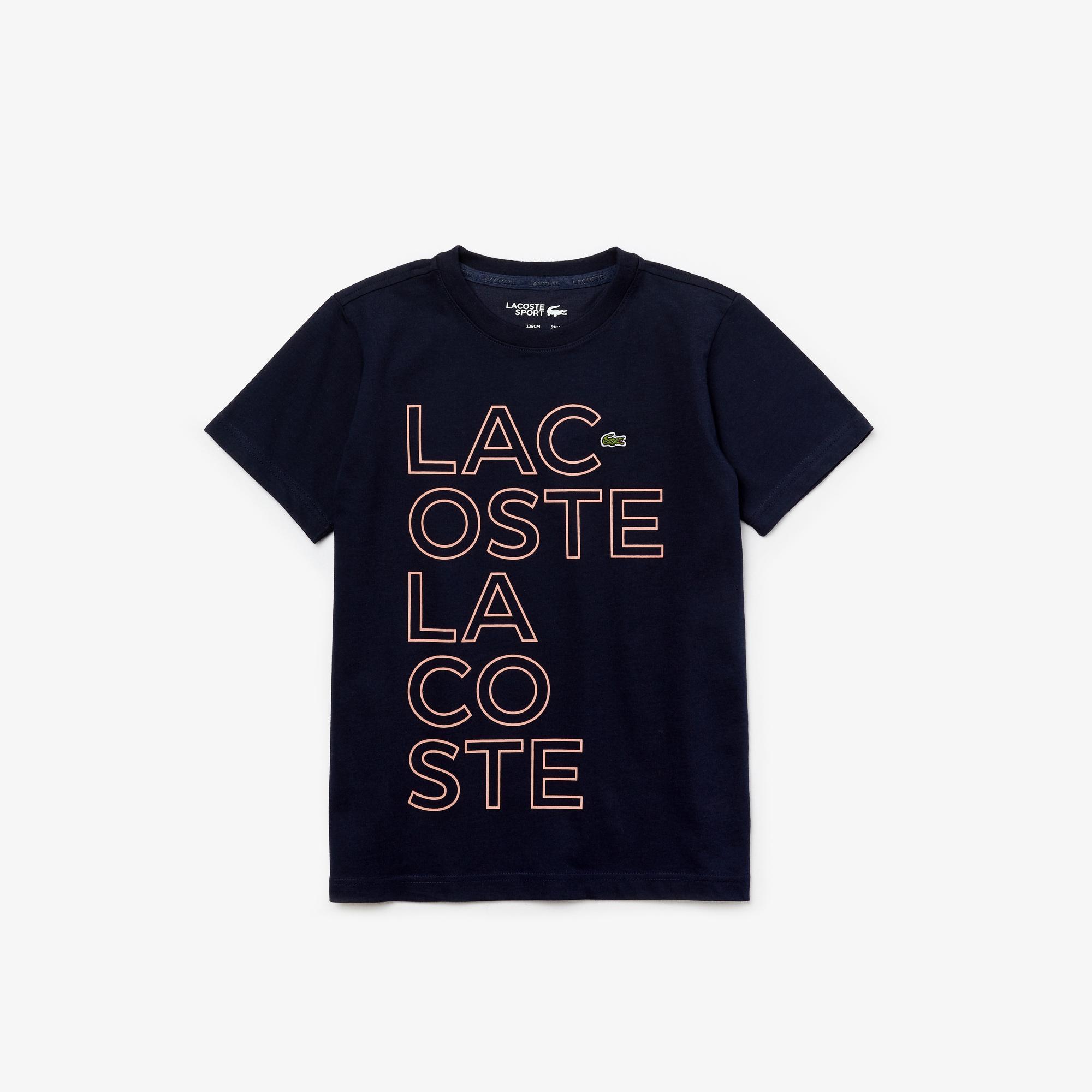 Lacoste Sport Çocuk Baskılı Bisiklet Yaka Lacivert T-Shirt
