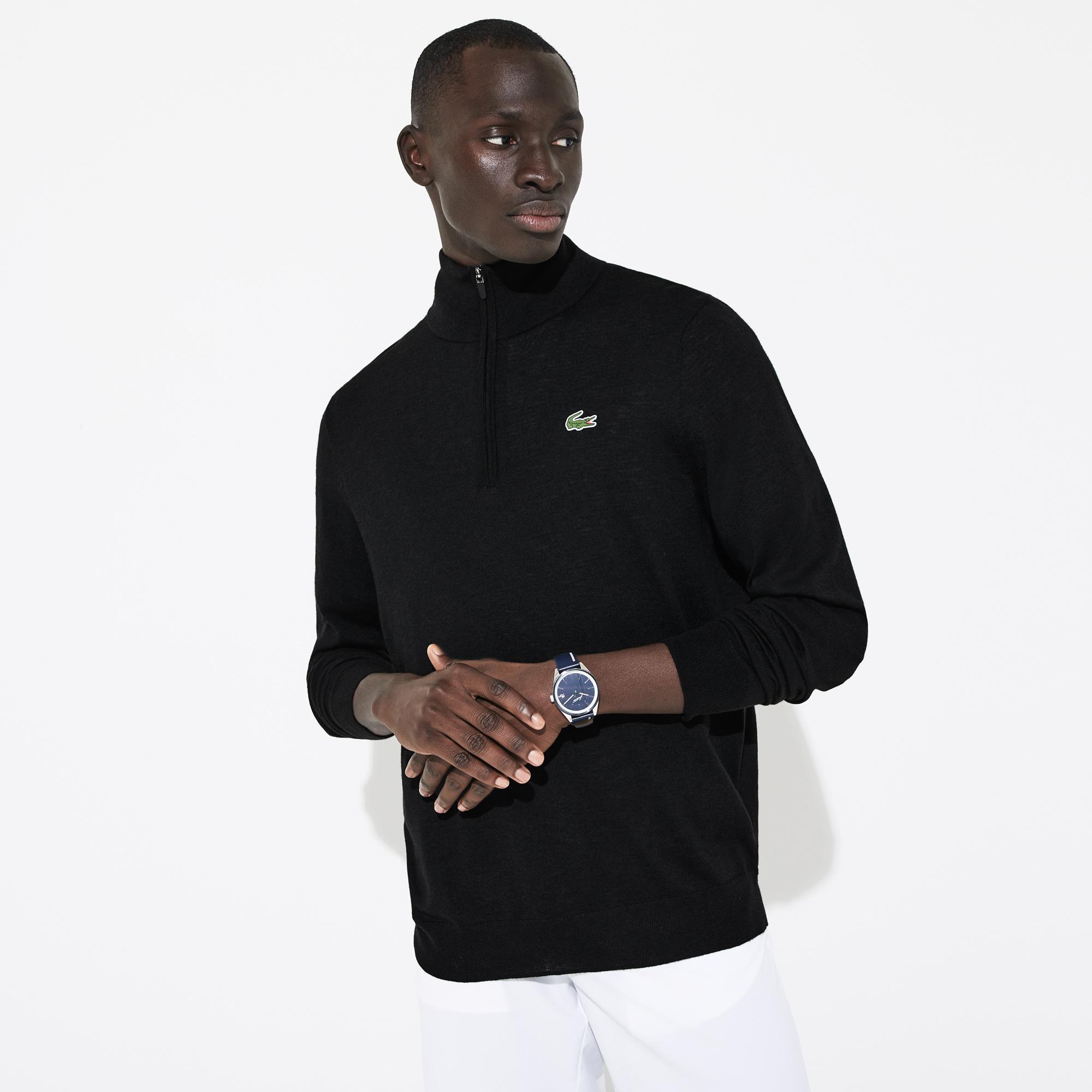 Lacoste Sport Erkek Dik Yaka Siyah Triko Kazak