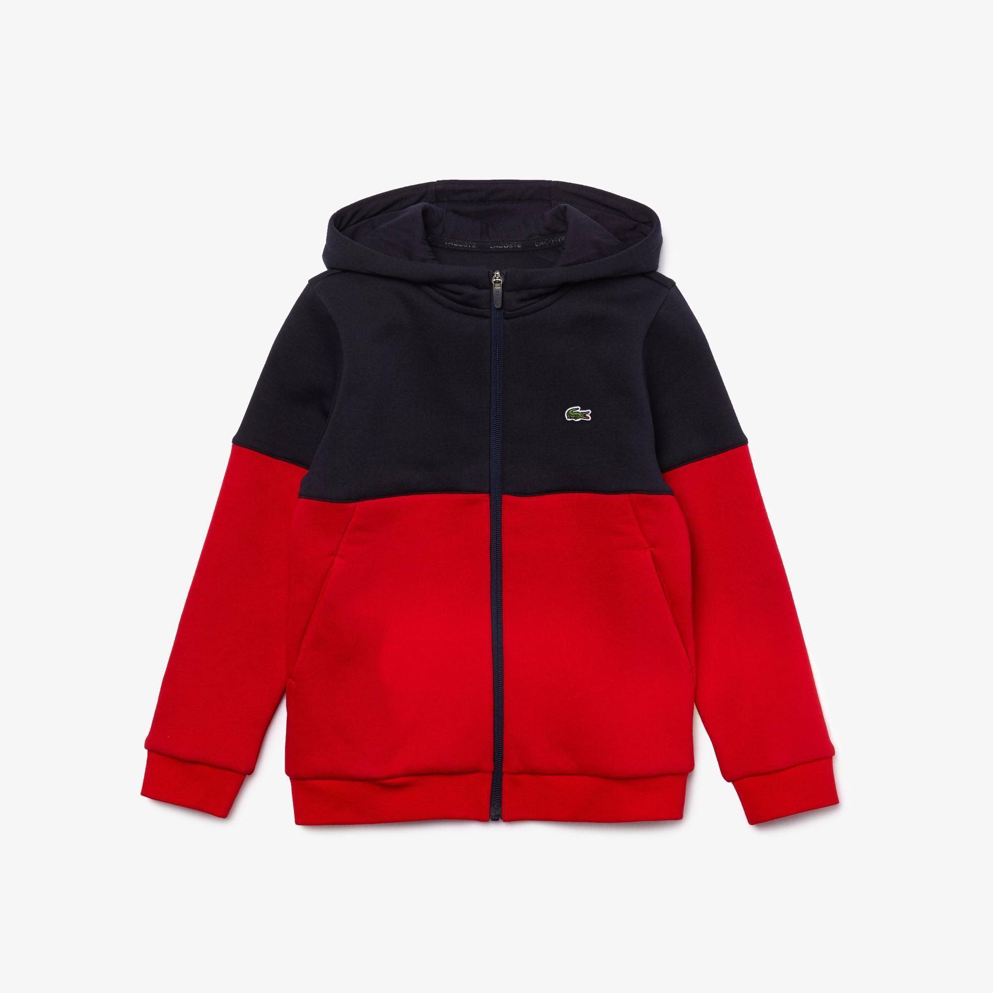Lacoste Sport Çocuk Blok Desenli Fermuarlı Lacivert - Kırmızı Sweatshirt