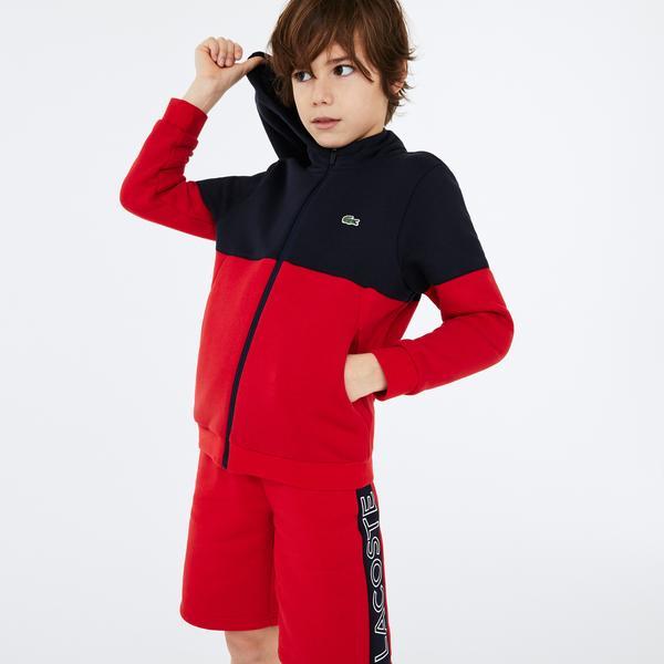 Lacoste Sport Çocuk Blok Desenli Baskılı Fermuarlı Lacivert - Kırmızı Sweatshirt