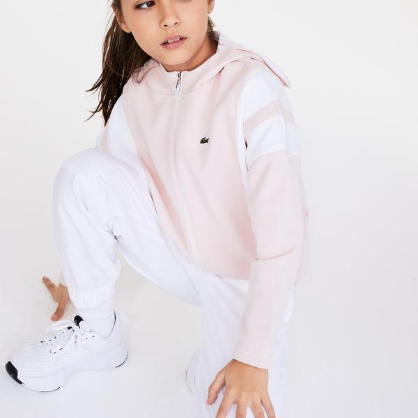 Lacoste Çocuk Blok Desenli Fermuarlı Pembe Sweatshirt
