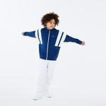 Lacoste Çocuk Blok Desenli Fermuarlı Lacivert Sweatshirt