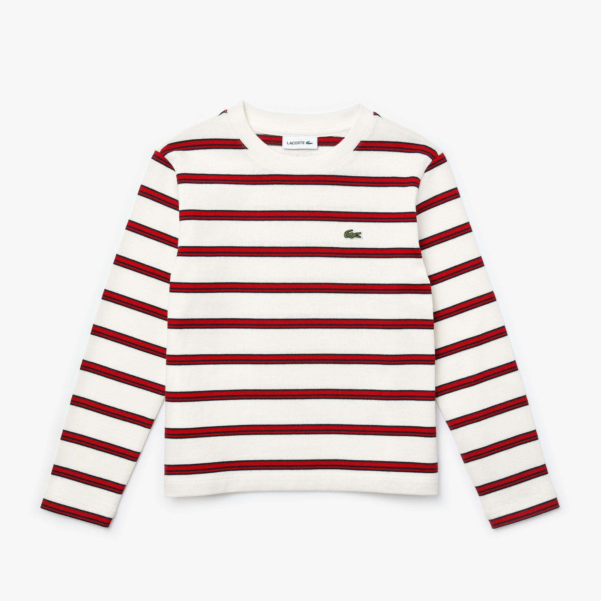 Lacoste Çocuk Çizgili Bisiklet Yaka Uzun Kollu Beyaz - Kırmızı T-Shirt