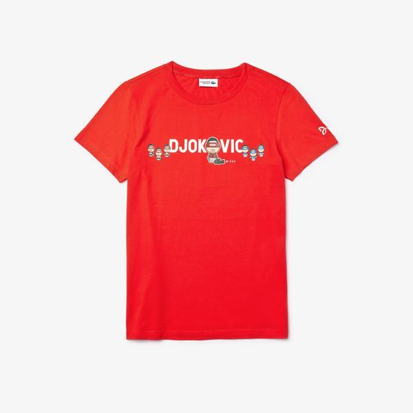 Lacoste Novak Djokovic X YSY Çocuk Baskılı Bisiklet Yaka Kırmızı T-Shirt