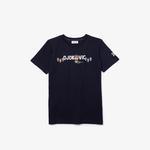 Lacoste Novak Djokovic X YSY Çocuk Baskılı Bisiklet Yaka Lacivert - Beyaz T-Shirt