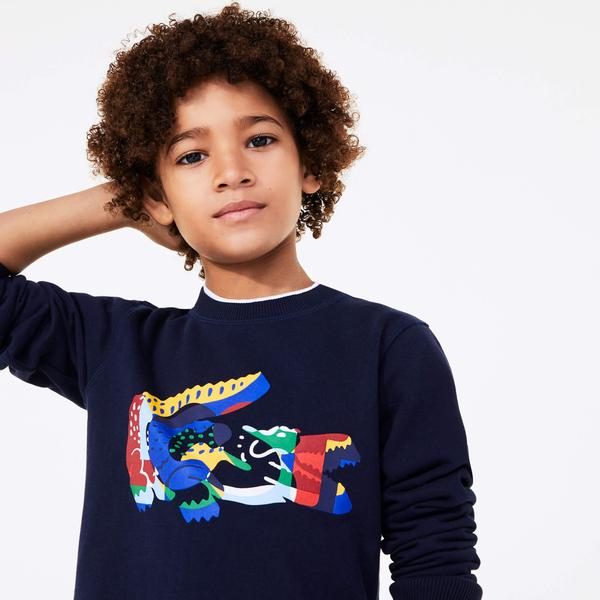 Lacoste Çocuk Timsah Baskılı Bisiklet Yaka Renkli Sweatshirt