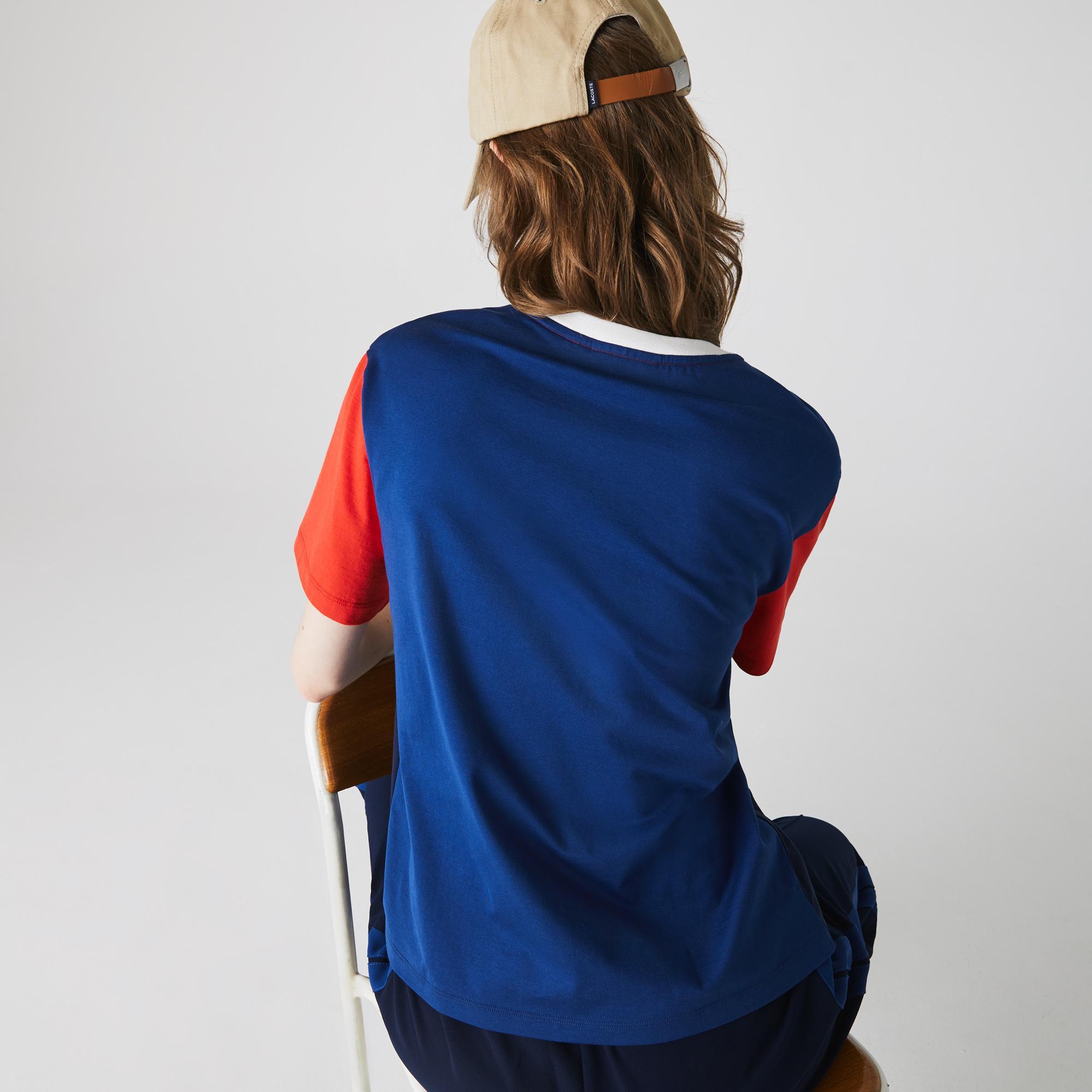 Lacoste Kadın Blok Desenli Bisiklet Yaka Kısa Kollu Renkli T-Shirt