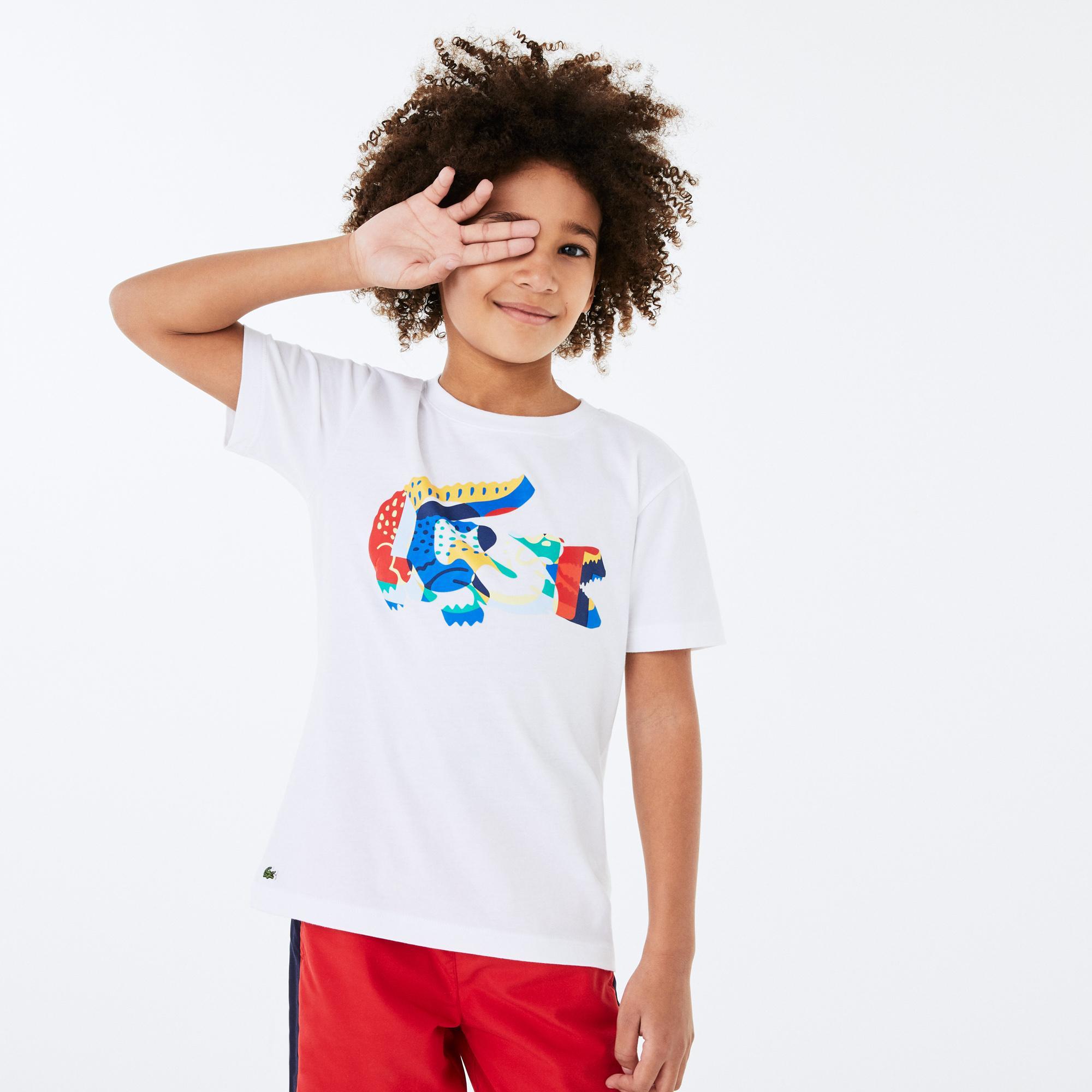 Lacoste Çocuk Timsah Baskılı Bisiklet Yaka Beyaz T-Shirt