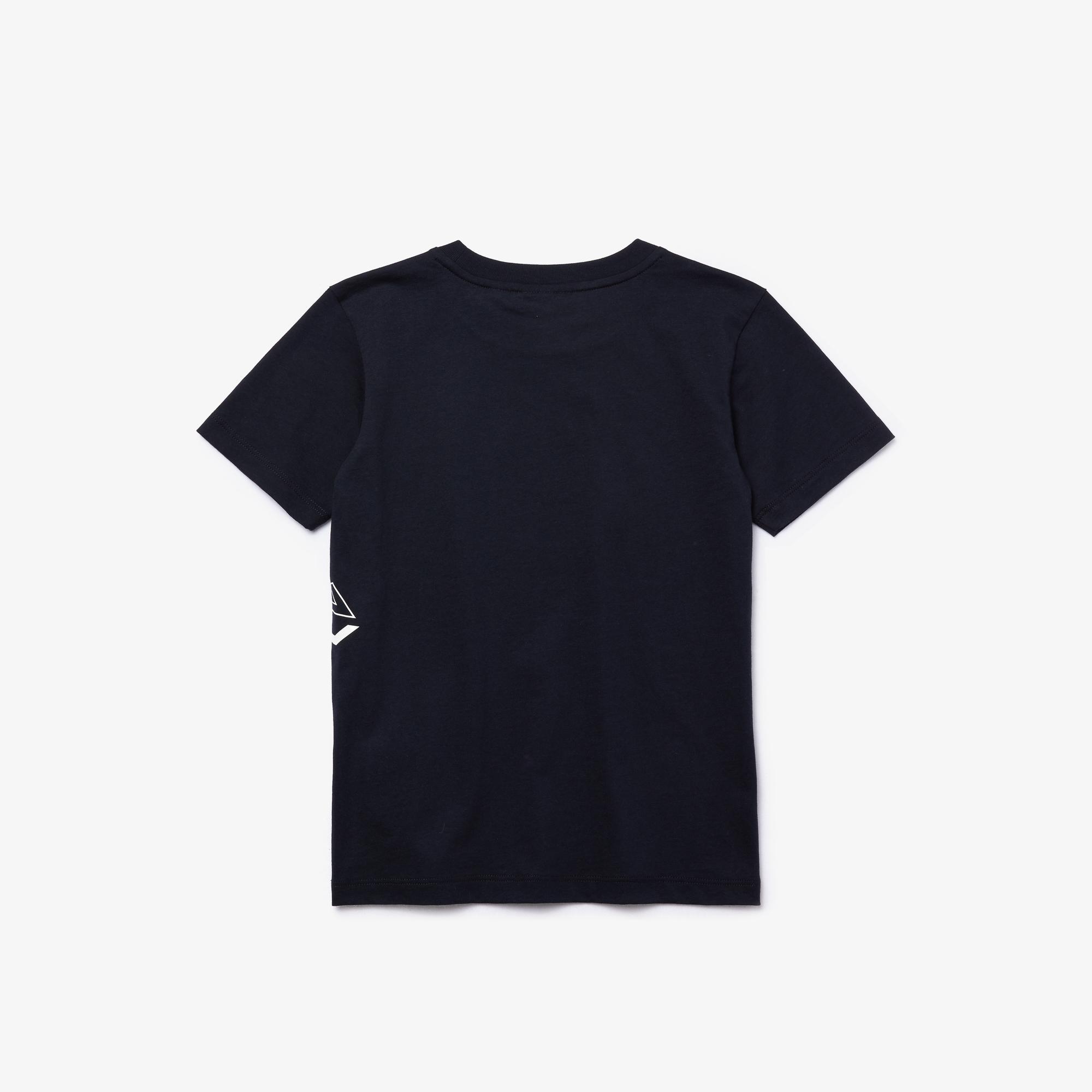 Lacoste Çocuk Baskılı Bisiklet Yaka Kısa Kollu Lacivert T-Shirt