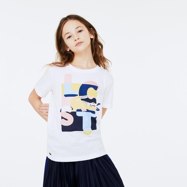 Lacoste Çocuk Baskılı Bisiklet Yaka Kısa Kollu Beyaz T-Shirt