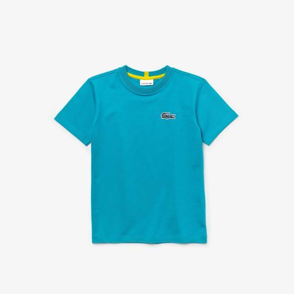 Lacoste x National Geographic Çocuk Bisiklet Yaka Kısa Kollu Mavi T-Shirt