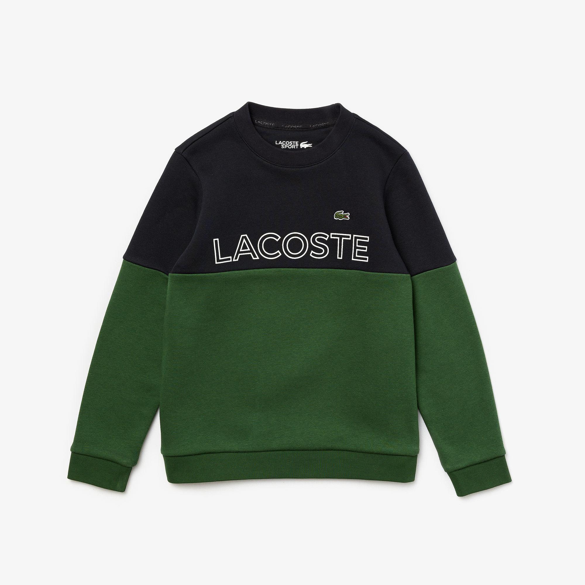Lacoste Sport Çocuk Blok Desenli Bisiklet Yaka Lacivert - Yeşil Sweatshirt