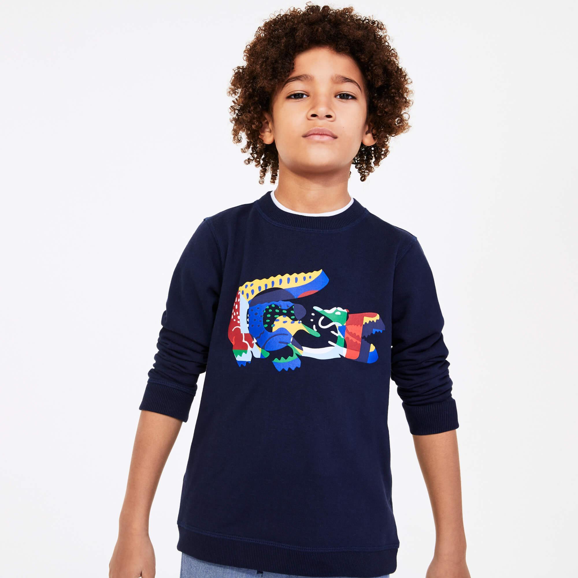 Lacoste Çocuk Baskılı Bisiklet Yaka Renkli Sweatshirt