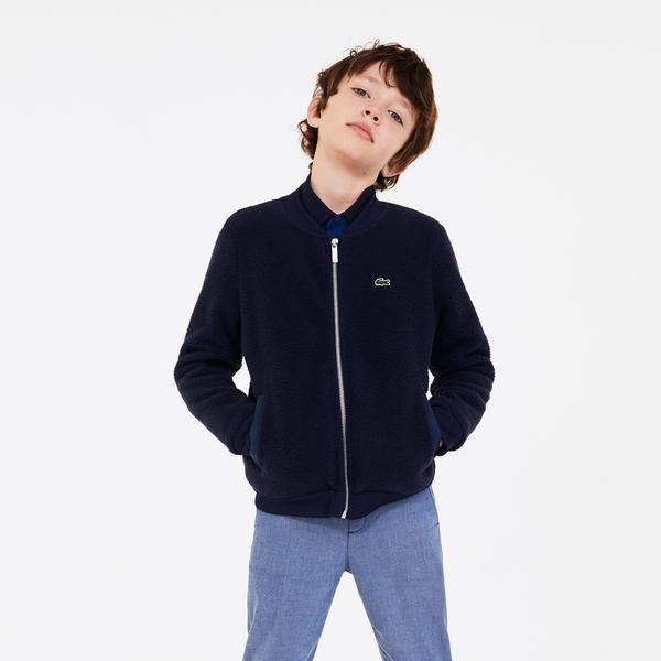 Lacoste Çocuk Baskılı Fermuarlı Lacivert Sweatshirt
