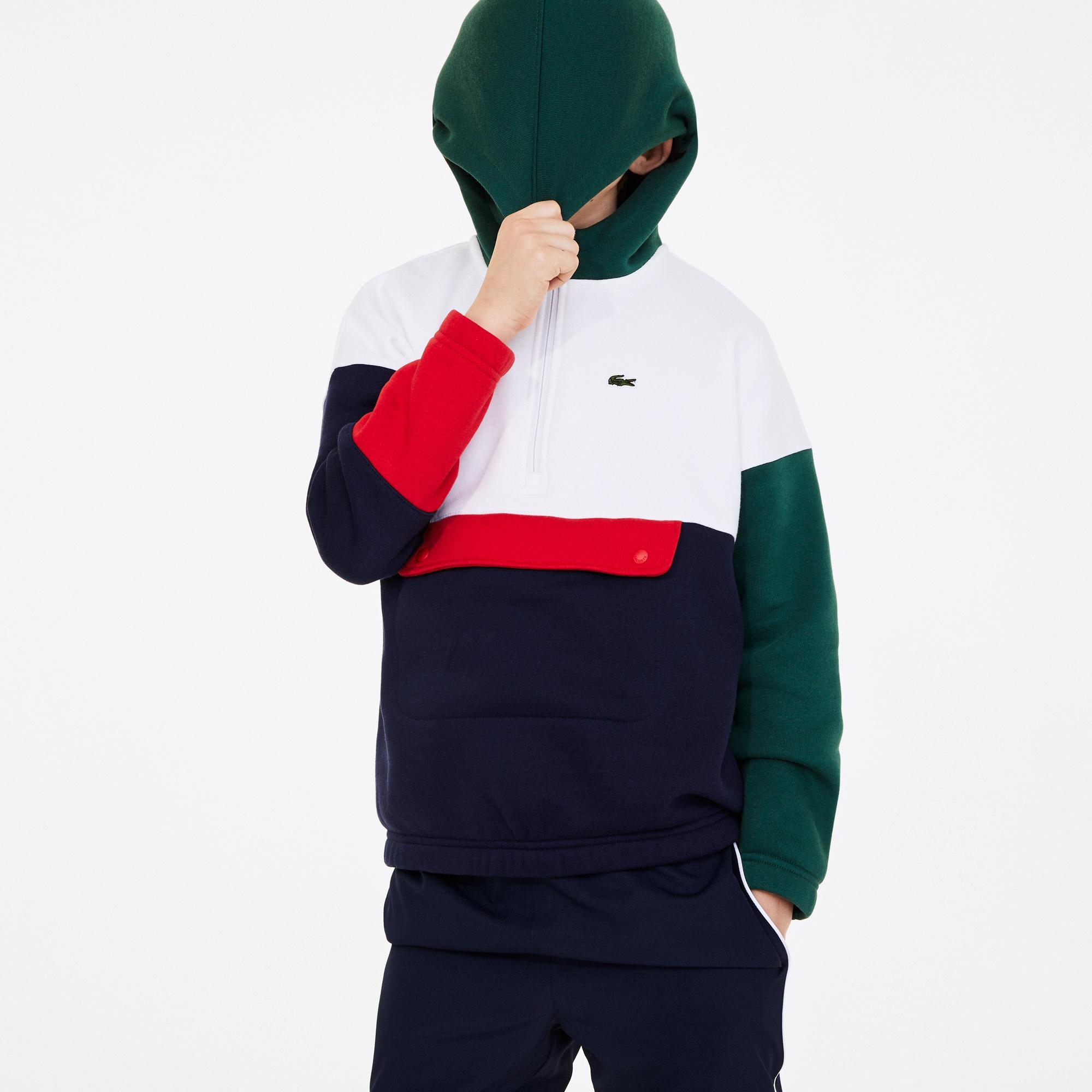Lacoste Çocuk Blok Desenli Kapüşonlu Renkli Sweatshirt