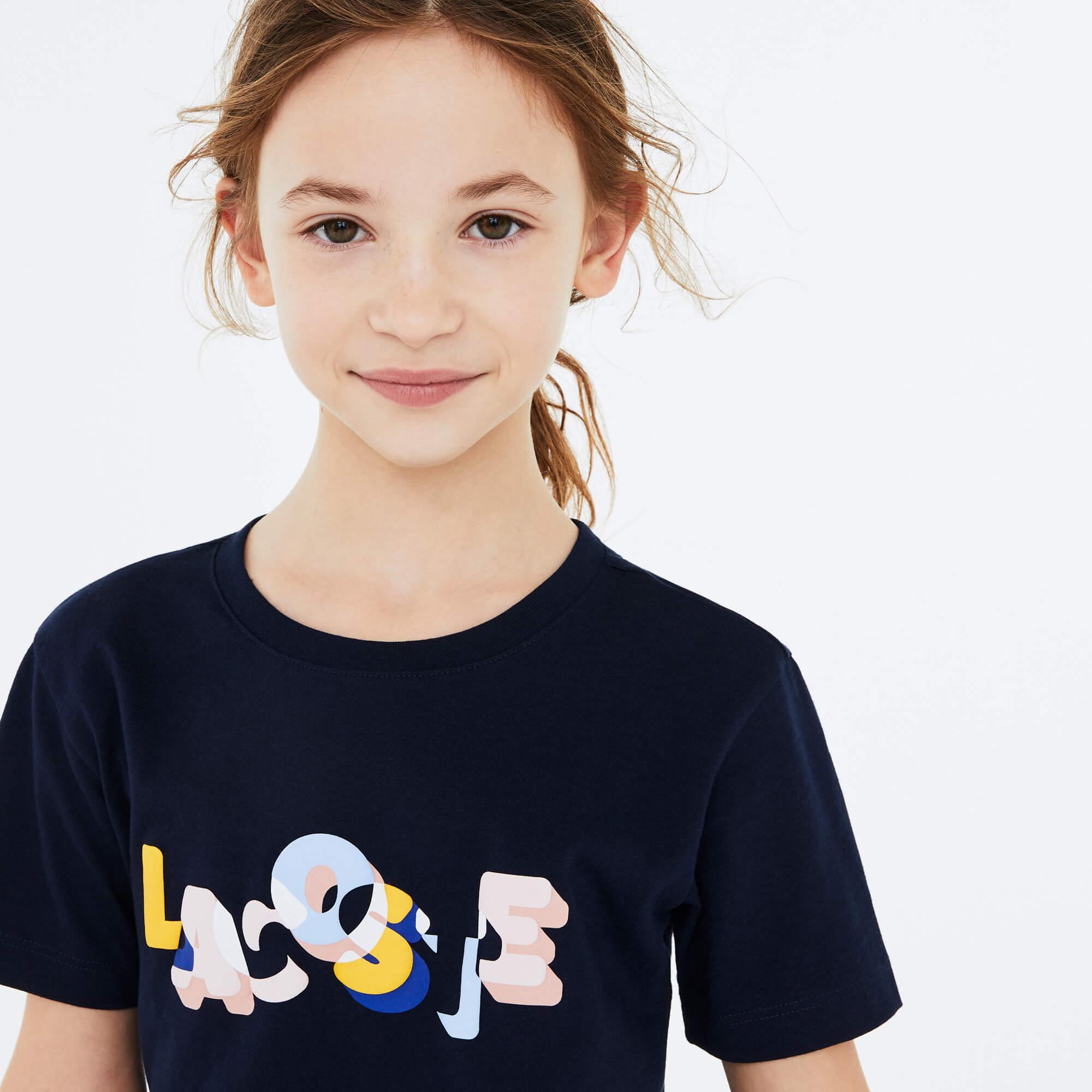 Lacoste Çocuk Baskılı Bisiklet Yaka Kısa Kollu Renkli T-Shirt