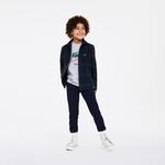 Lacoste Çocuk Baskılı Bisiklet Yaka Uzun Kollu Gri T-Shirt