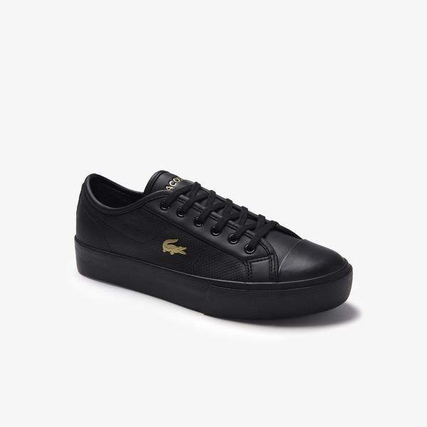 Lacoste Ziane Plus Grand 01201Cfa Kadın Deri Siyah - Sarı Casual Ayakkabı
