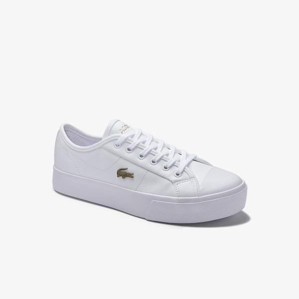 Lacoste Ziane Plus Grand 01201Cfa Kadın Deri Beyaz - Gold Casual Ayakkabı
