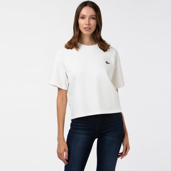 Lacoste Sport Kadın Bisiklet Yaka Beyaz T-Shirt