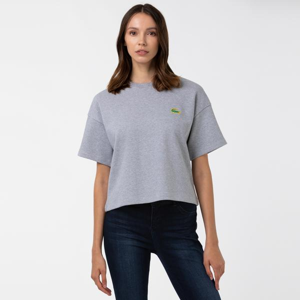 Lacoste Sport Kadın Bisiklet Yaka Gri T-Shirt