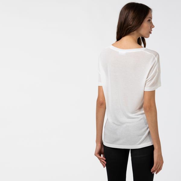 Lacoste Kadın Kayık Yaka Beyaz T-Shirt