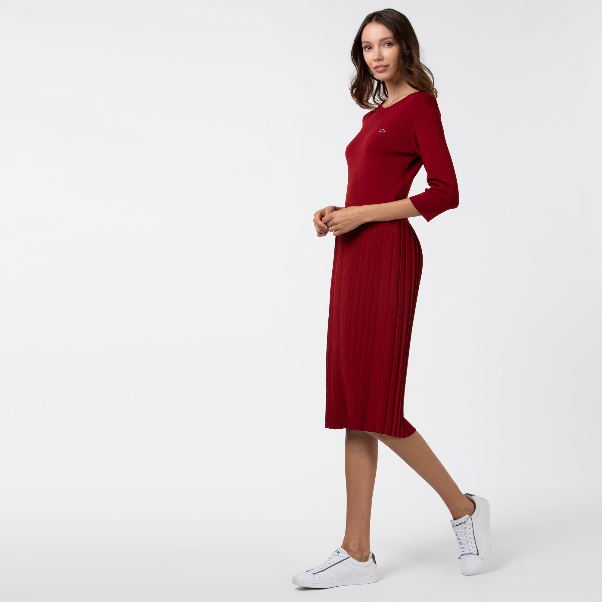 Lacoste Kadın Pileli Kayık Yaka Truvakar Kollu Bordo Elbise