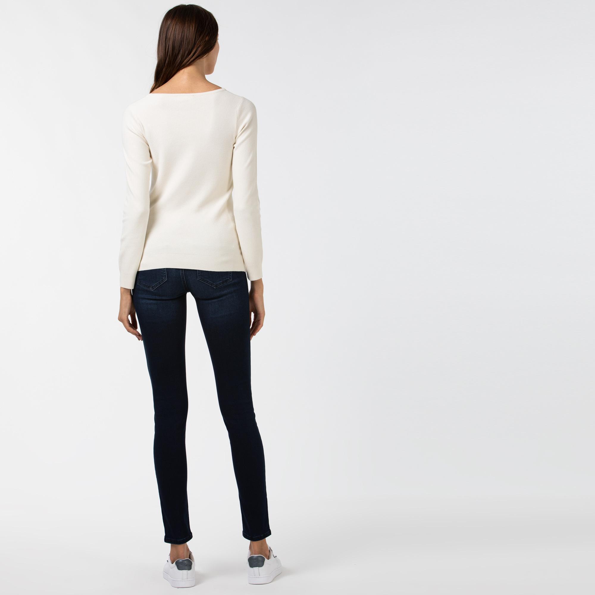 Lacoste Kadın Slim Fit Denim Mavi Pantolon