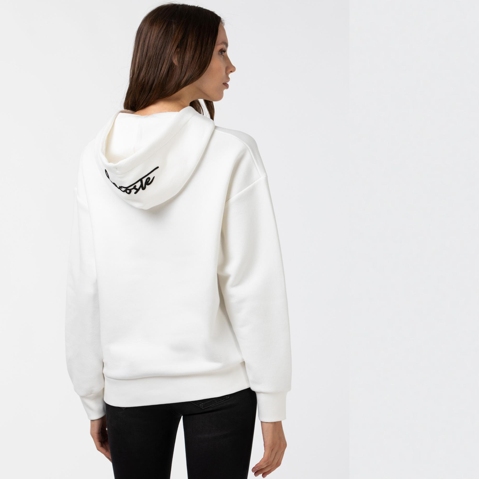 Lacoste Kadın Baskılı Kapüşonlu Beyaz Sweatshirt