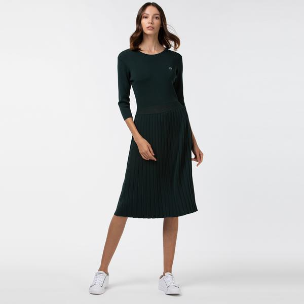 Lacoste Kadın Pileli Kayık Yaka Truvakar Kollu Haki Elbise