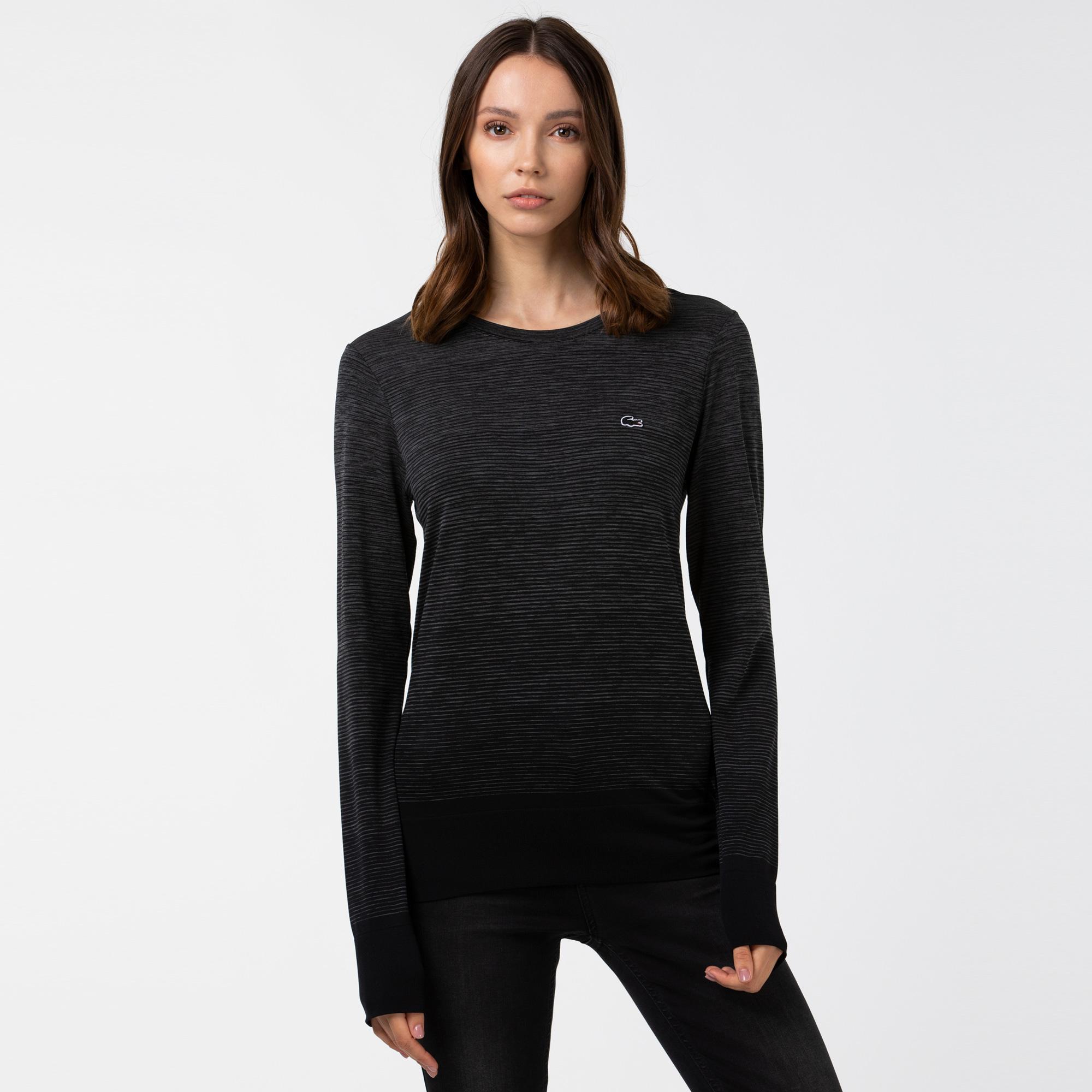 Lacoste Kadın Bisiklet Yaka Uzun Kollu Siyah T-Shirt