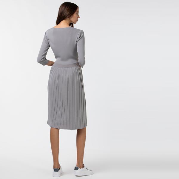 Lacoste Kadın Truvakar Kollu Gri Elbise