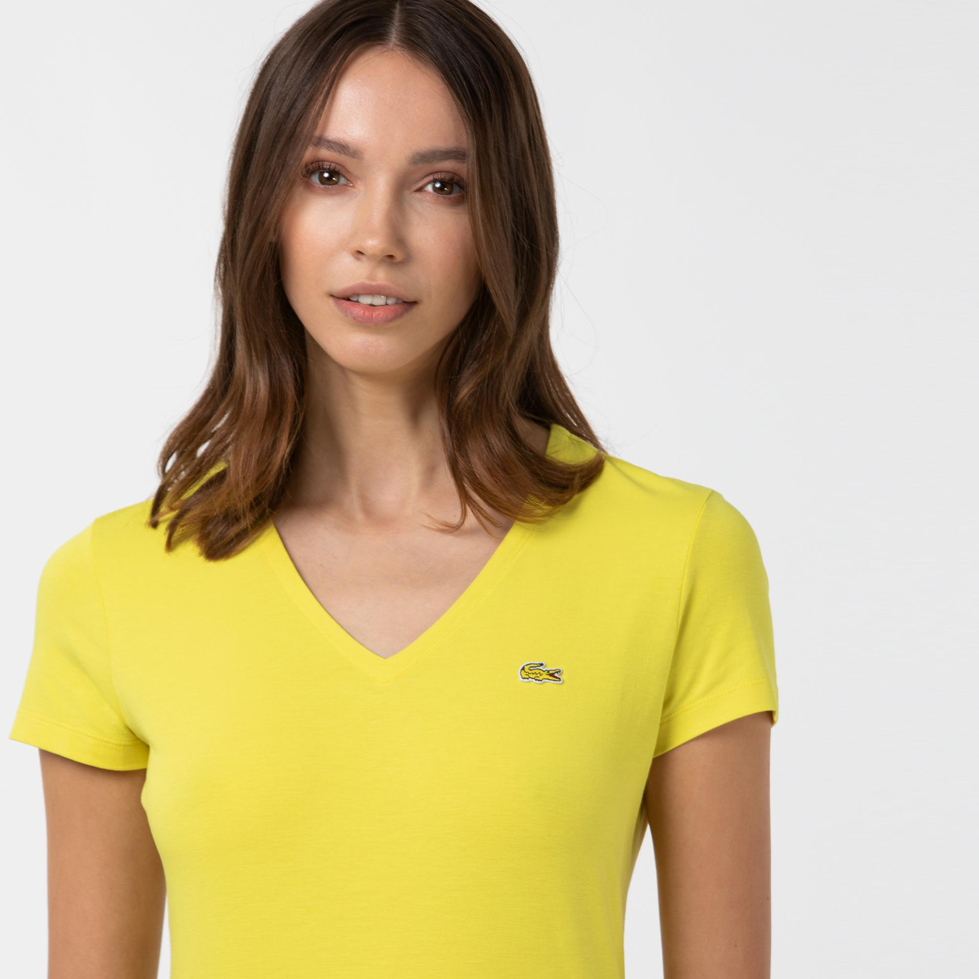 Lacoste Kadın V Yaka Sarı T-Shirt